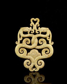 Chinese Jade Double Dragon Pendent