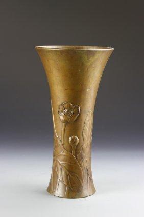Japanese Bronze Gu Vase
