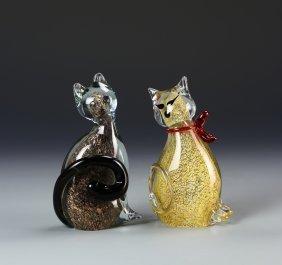 Pair Of Murano Glass Cats