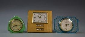 Three Vintage Art Deco Alarm Clocks