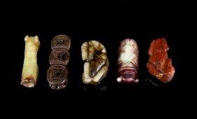 Five Chinese Jade And Shoushan Stone Pendants