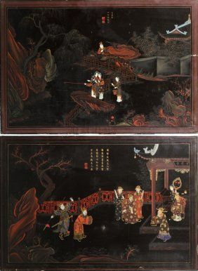 Pair Of Chinese Lacquered Panels