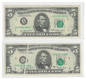 Five Misprinted U.s. Bank Notes
