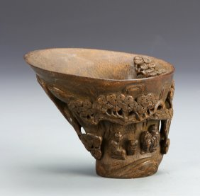 Chinese Carved Bamboo Libation Cup