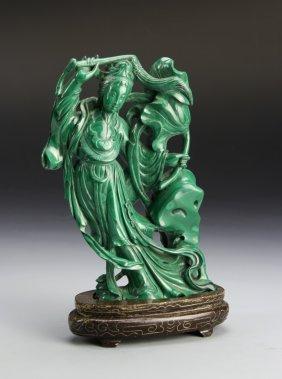 Chinese Malachite Lady Figure