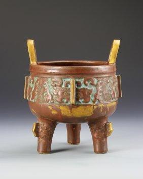 Chinese Bronze-like Porcelain Tripod Censer