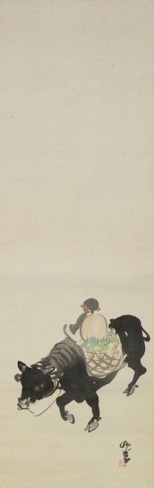 Japanese Scroll Painting Of Boy On A Cow