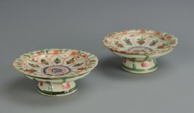 Pair Of Chinese Export Famille Rose High Stem Plat
