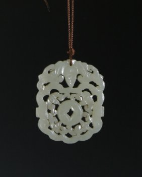 Chinese Celadon Carved Jade Pendant