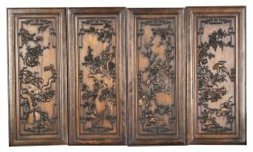 Four Chinese Wood Panels