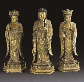 Three Chinese Gilt Buddha Figures