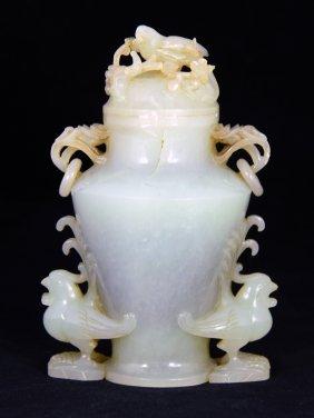 Chinese White Jade Vase