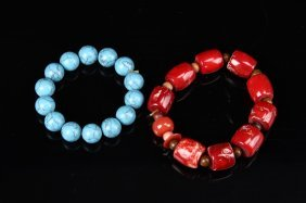 Chinese Coral And Turquoise Bracelets (2 Pc.)