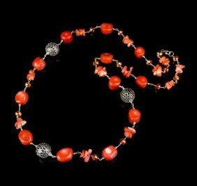 Chinese Coral Silver Beaded Necklace