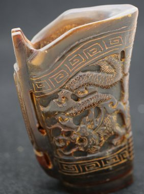 Chinese Old Horn Carving Dragon Horn Cop