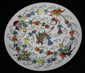 Chinese 19th' Famille Rose Plate