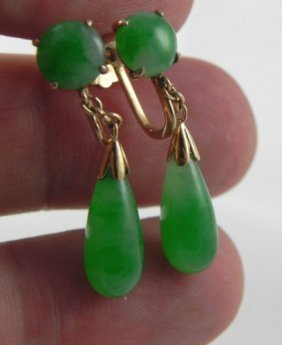 Gia Certificate 18k Chinese Apple Green Jade Earrings