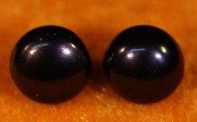 Large Chinese 14k Gold Tahitian Black Pearl Earrings