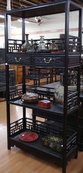 Pair Chinese Rosewood Antique Cabinet