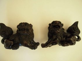 Pair Chinese Zitan Lion Sculpture