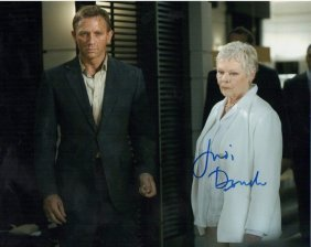 Judi Dench Signed Bond Photo.