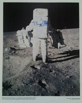 Buzz Aldrin Carries The Lunar Seismometer Signed Litho.