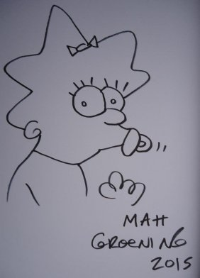 Matt Groening Drawing Of Maggie Simpson.