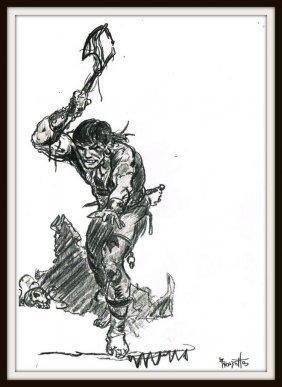 Frank Frazetta: Caveman With Axe Drawing.