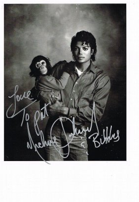 Michael Jackson Inscribed Mj And Bubbles Picture.
