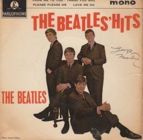 The Beatles Signed By George Martin 7 Inch Single.