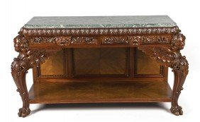 George II Style 'Marble' Top Mahogany Side Table