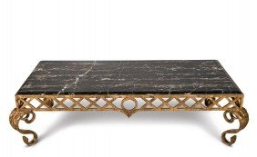 Good Portor Marble And Gilt Wrought Iron Low Table