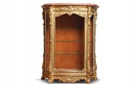 Louis XIV Style Marbletop Carved Gilt Wood Vitrine