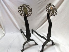 Antique Fireplace Andirons Brass And Iron