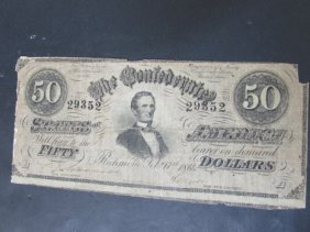 1864 Confederate States $50 Dollar Note