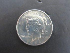 1921 Rare High Relief Peace Dollar Au-bu