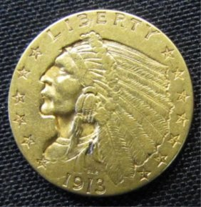 1913 Us $2-1/2 Dollar Gold Indian Head Us Coin Unc