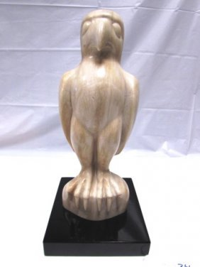 "15"" Carved Marble Maltese Falcon Statue"