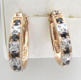 Sapphire Diamond Gold On Sterling Hoop Earrings