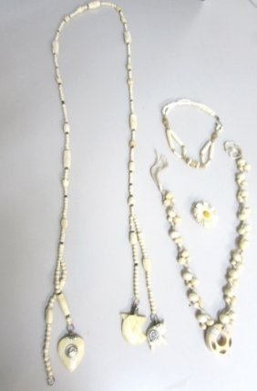Ivory / Bone Jewelry Lot 3 Necklaces Pin