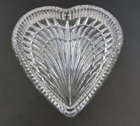 Waterford Heart Dish Vanity Tray Cut Crystal