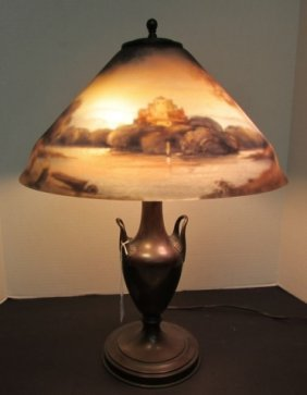 Pairpoint Reverse Painted Lamp Castle River Scene
