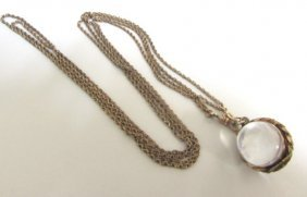 "Victorian Watch 52"" Chain W Ball Locket Fob"