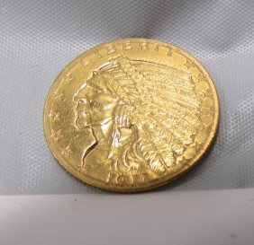 1911 $2 1/2 Gold Indian Us Coin