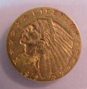 1915 Us Gold $2 1/2 Dollar Indian Coin