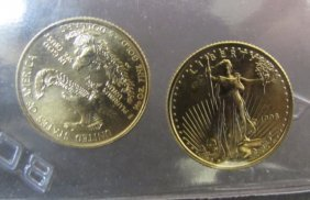 2 1998 Us $5 Dollar Gold Eagle Coins Unc