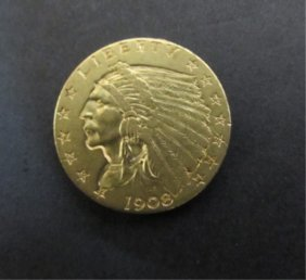 1908 Us $2 1/2 Dollar Gold Indian Coin