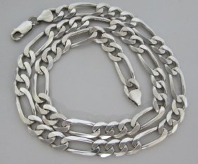 "20"" Figaro Necklace Sterling Silver 47grams"
