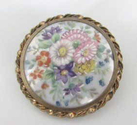 Limoges France Cameo Pin Floral Painted Brooch