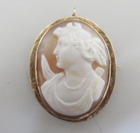 Portrait Cameo 14k Gold Pin & Pendant Brooch